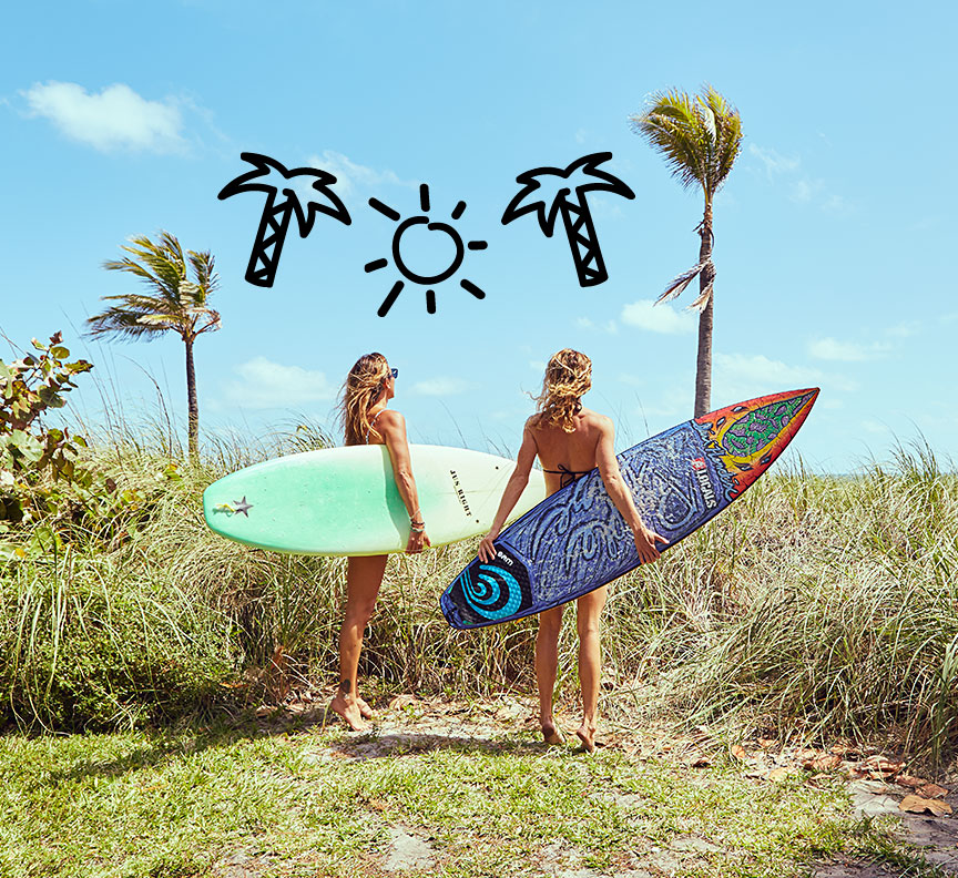 girls with surfboards
