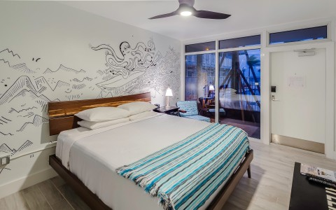 room with wall mural