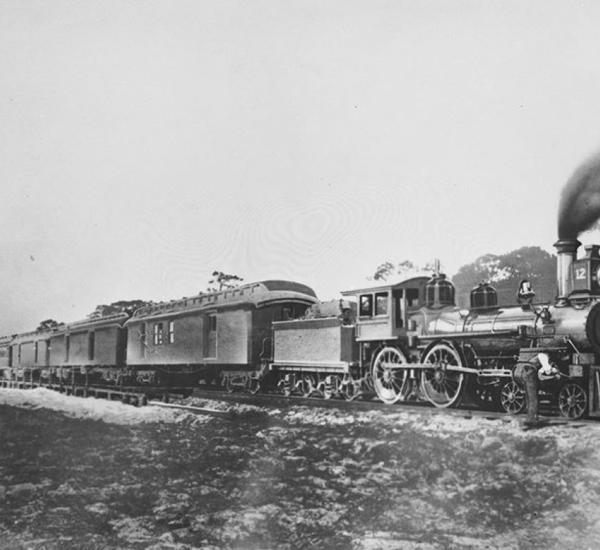 old train black and white image