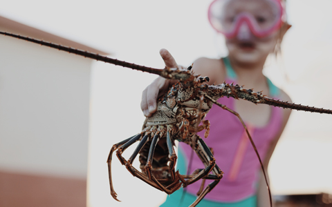 girl in goggles holding lobster