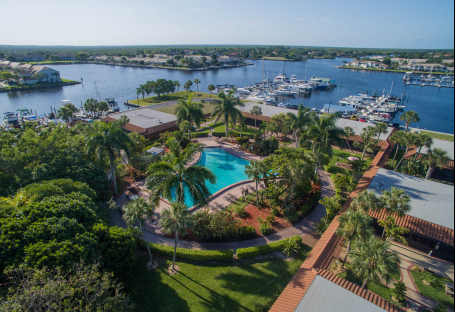 Aerial view of hotel, pool & marina