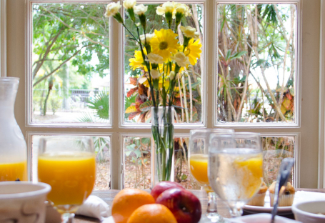 Blurred breakfast with focus on yellow flowers next to window