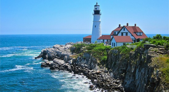 Portland Lighthouse by the ocean