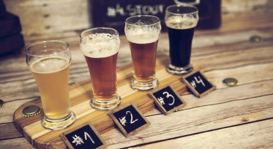 Flight of beer numbered 1 through 4