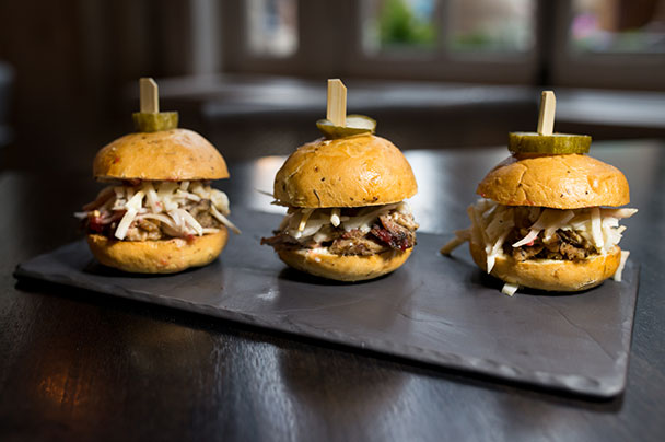BBQ pork sliders on slate tray