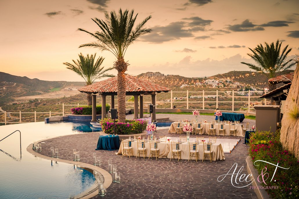 pool with reception area setup during sunset