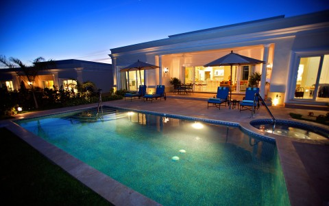 Emerald Estate pool at night