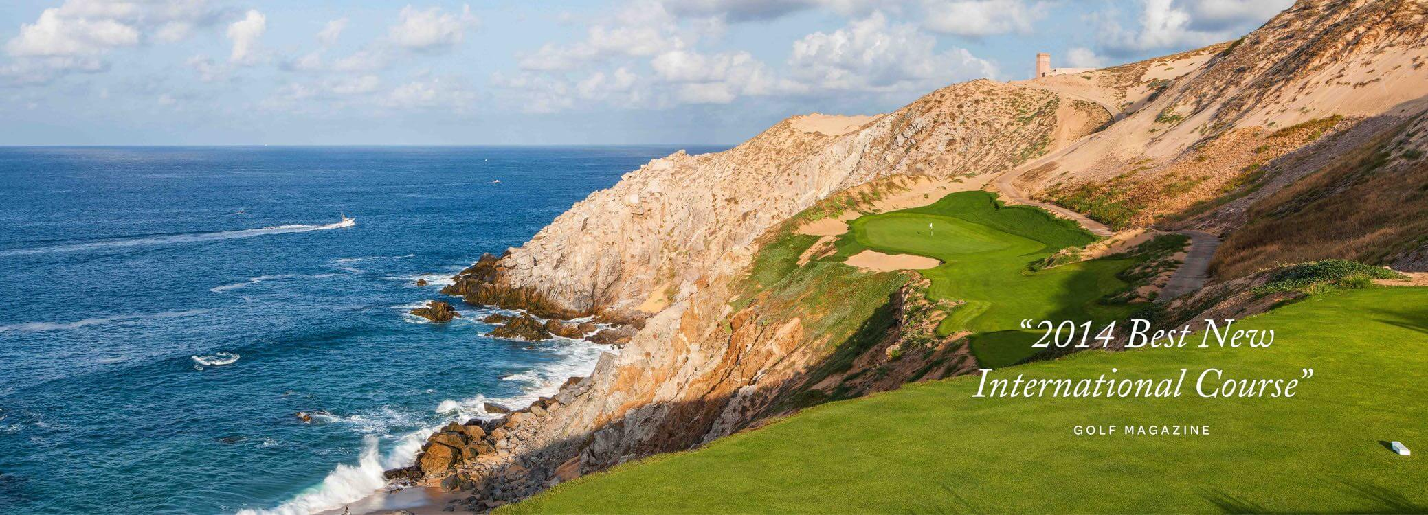 a gold course on the side of a cliff