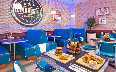 blue seating in diner