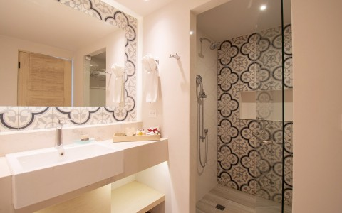 bathroom with black and white design