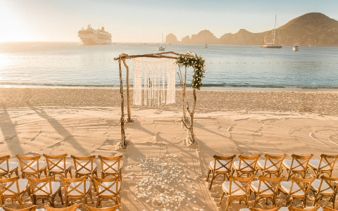 wedding arch set up by the ocean