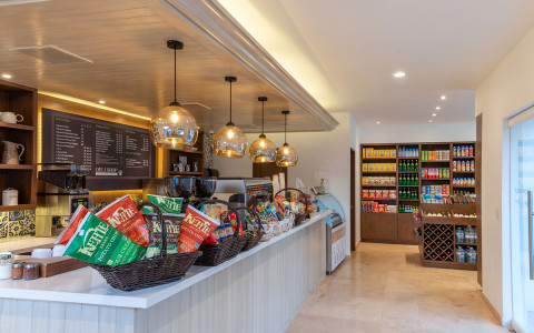 cafe with barista bar and snacks