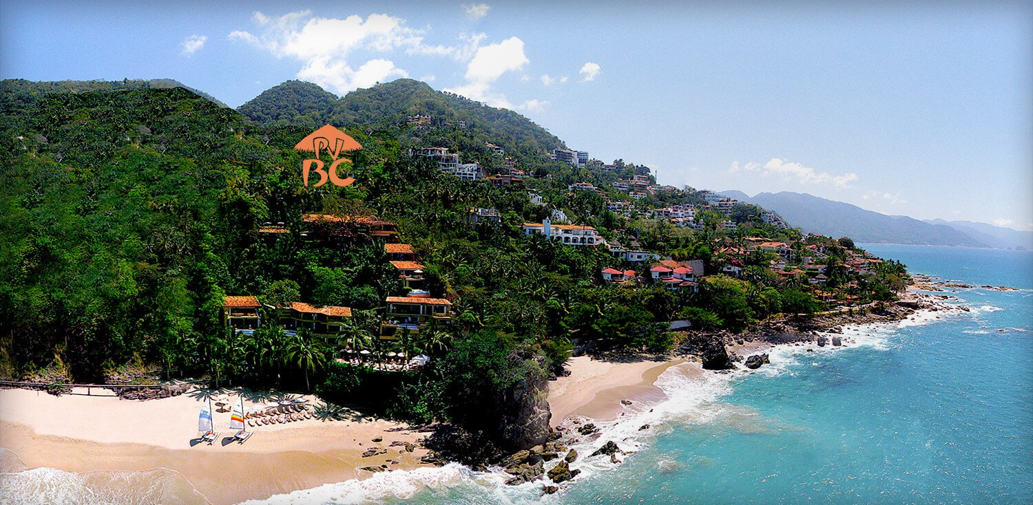 Island sea shore next to houses peaking out of greenery with logo