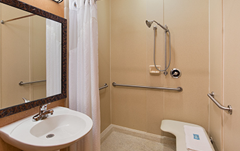 accessible hotel bathroom with support bars seating bench and hand held shower