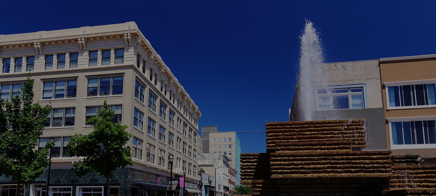 buildings in downtown springfield with water fountain