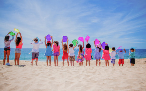 Kids on beach holding kites above their head