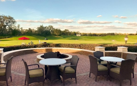 outside seating area overlooking the golf course