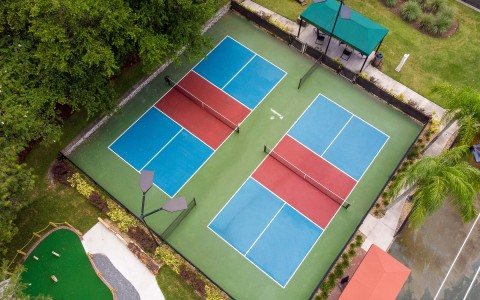 aerial view of 2 tennis courts