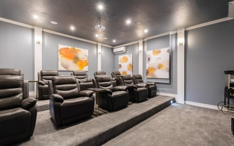 black leather chairs in a private movie theatre