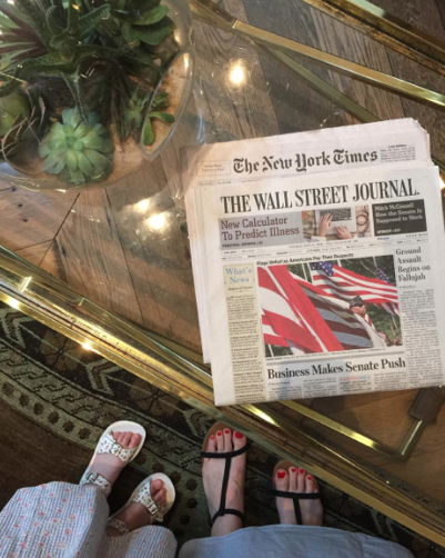 wall street journal on table