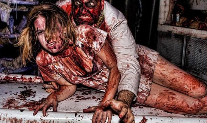 bloody man and woman for haunted attraction Blood Manor nyc