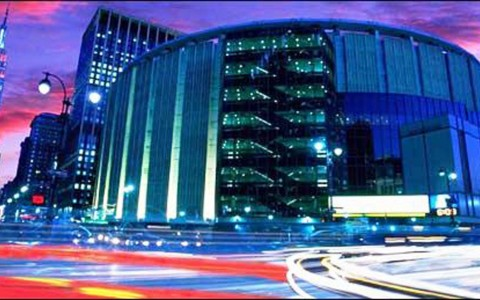 Madison Square Garden exterior at night