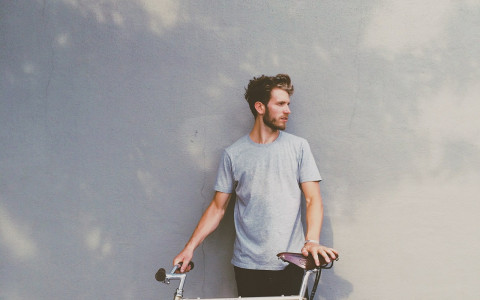 hipster guy with bike