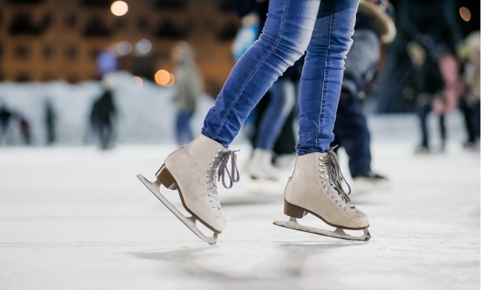 close up of female ice skates