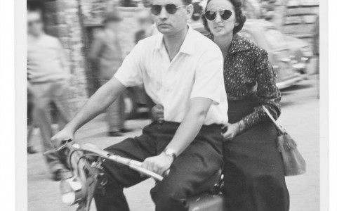 vintage image of a couple on a bike
