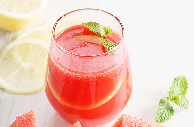 Watermelon Lemonade with mint leaf