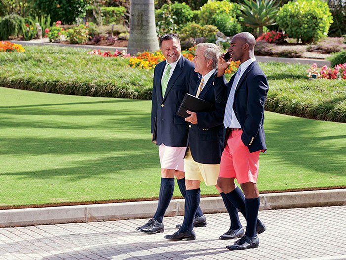 men wearing Bermuda shorts