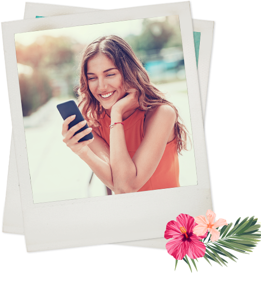 Polaroid of woman holding phone smiling
