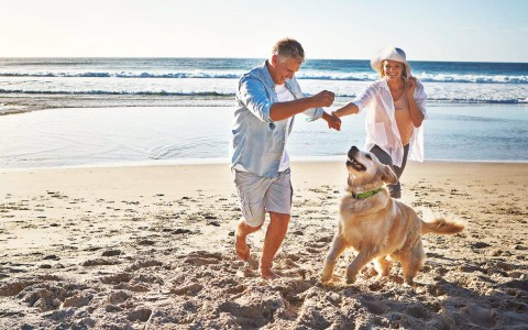 couple playing with their dog on beach