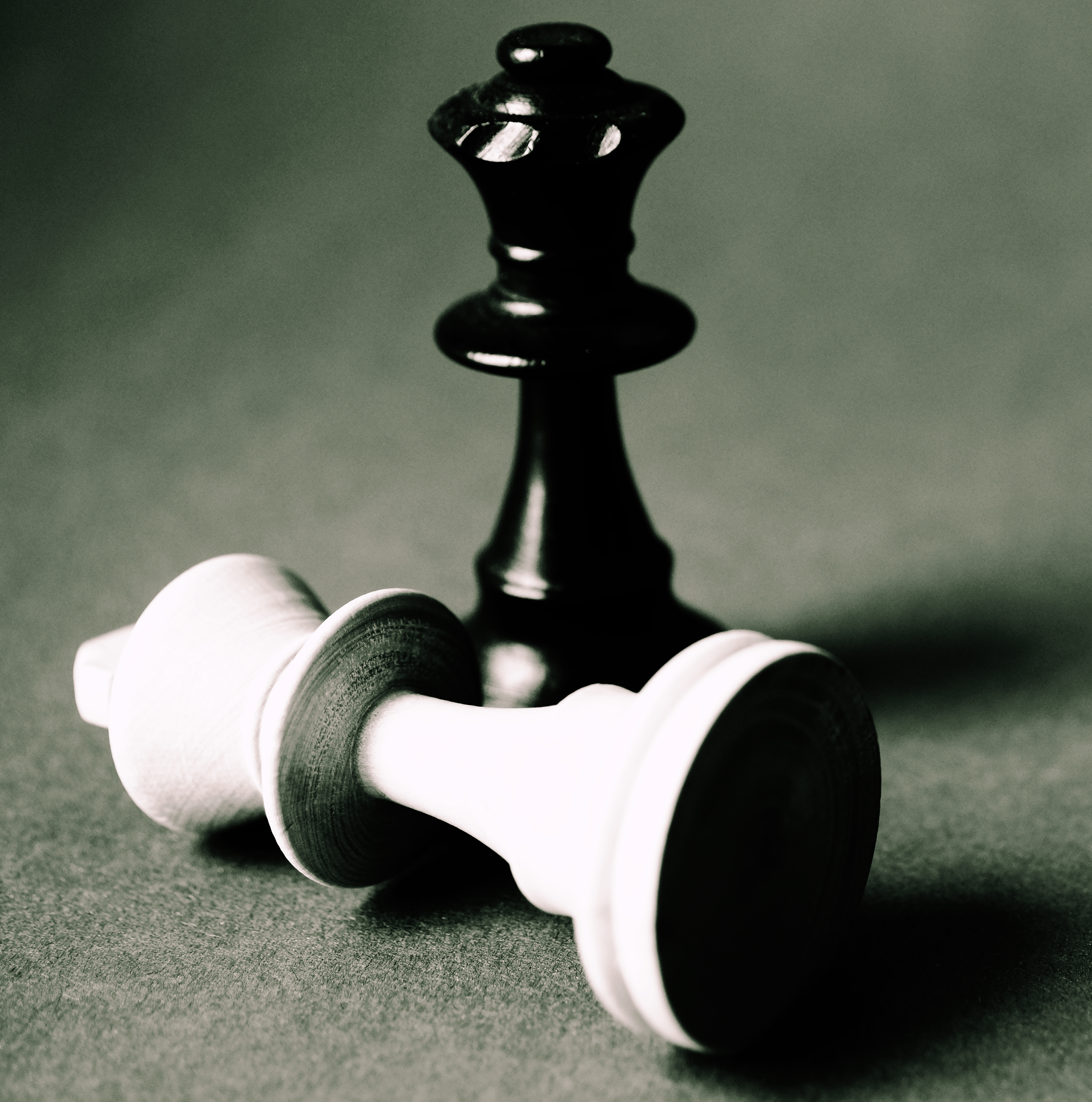 Two Black and White Chess Pieces
