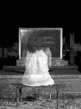 Female Ghostly Image in Black and White