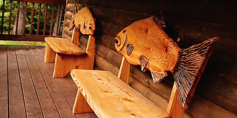 Carved benches