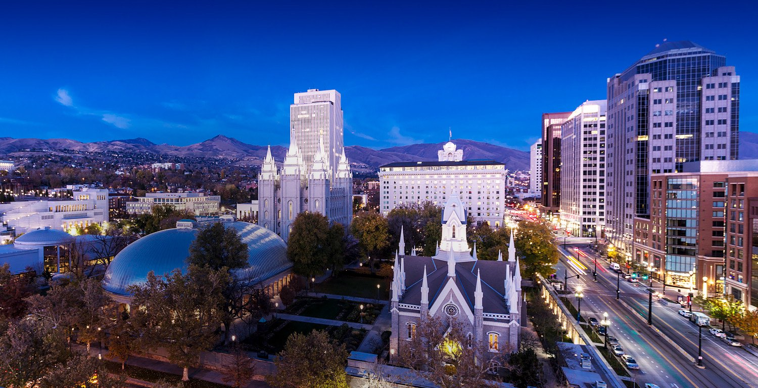 Aerial view of downtown Salt Lake City and Temple square