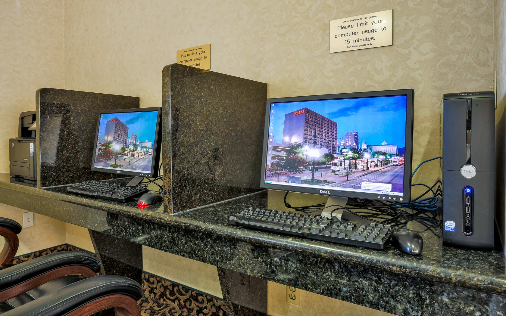 Hotel business center with 2 computers