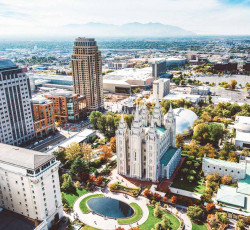Aerial view of Temple Square in Salt Lake City mountains in background