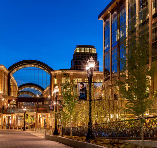 Salt Lake City Shopping area at night