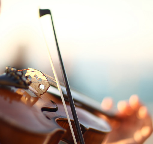Closeup of a person playing a violin