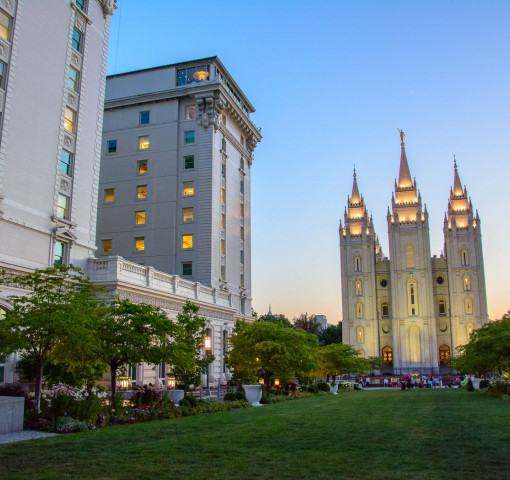 Mormon Temple building at Night