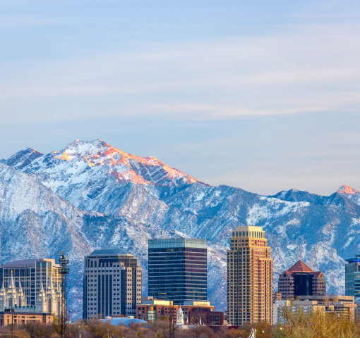 Salt Lake City skyline with mountains behind