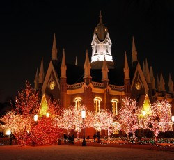 temple square surrounded by christmas lights