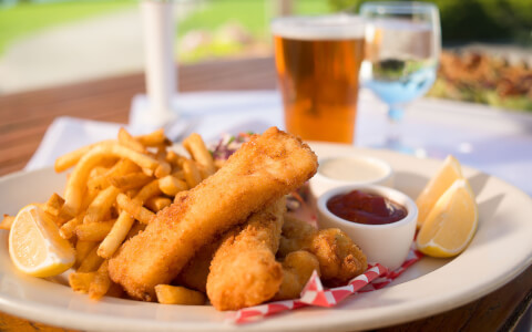 fish and chips with a beer