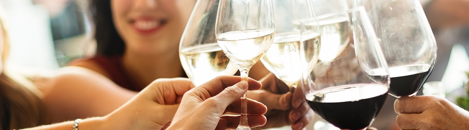 Close up of group of people toasting with wine