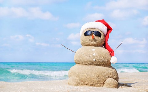 Sand Snowman with Santa Hat