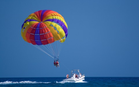Parasailing above water