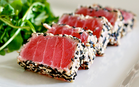 Ahi Tuna with seaweed salad