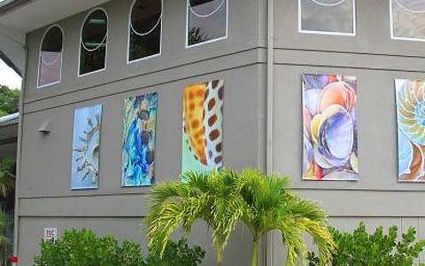 Shell museum with shell paintings on outside